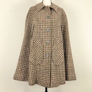 Vintage Pendleton 100% Wool Plaid Cape Coat